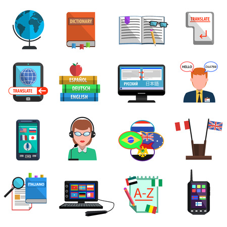 interpreter: Multilanguage translator and interpreter flat style colorful icons set isolated vector illustration