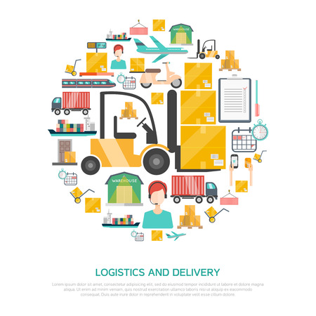 logistics: Logistics and transportation concept with storage and delivery symbols flat vector illustration