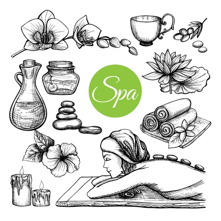 wellness icon: Hand drawn spa treatment set with woman and body care symbols isolated vector illustration Illustration