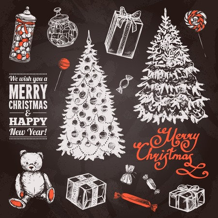 Chalkboard chrismas set with hand drawn pine tree sweets and gift boxes isolated vector illustration Illustration
