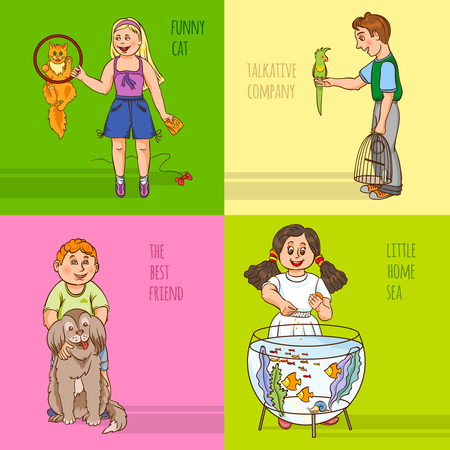 merrily: Childs and their pets with short fun comment color cartoon decorative icon set vector illustration Vettoriali