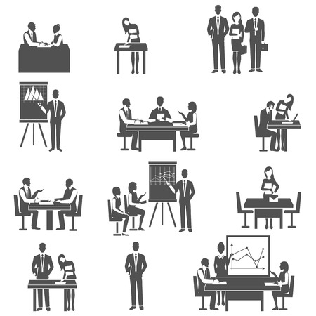 quick money: Effective business internal coaching forms and tactics in pictograms black icons set abstract isolated vector illustration