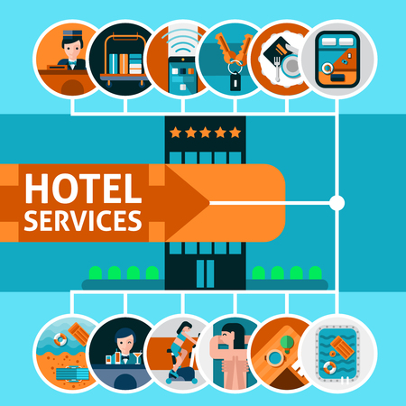 hotel resort: Hotel resort concept with vacation services flat icons set vector illustration