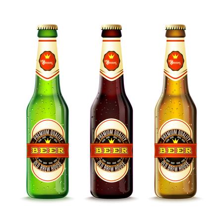 botella: Realistas botellas de cerveza verdes y marrones establece la ilustraci�n del vector aislado