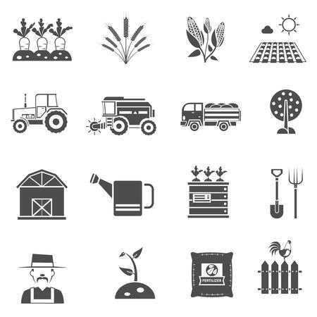 Landbouw boerderij en tuin zwarte pictogrammen set geïsoleerd vector illustratie