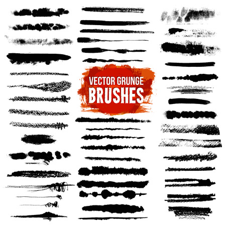 brush: Illustrator grunge black lined and scuffed brush styles set with bright color text isolated vector illustration