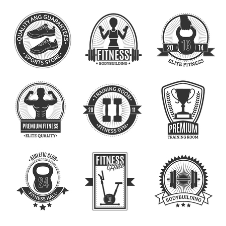 fitness equipment: Fitness hall athletic club elite gym training room and sports store black and white badges set isolated vector illustration