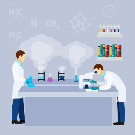 lab coats: Chemistry laboratory research test tubes flat icon poster with two scientists in lab coats abstract vector illustration Illustration
