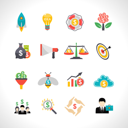 starting a business: Startup business money raising crowdfunding solution flat icons set with starting rocket abstract isolated vector illustration Illustration
