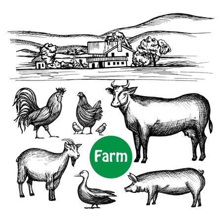 Hand getekende boerderij set met geïsoleerde dorpshuis en vee dieren vector illustratie Stock Illustratie