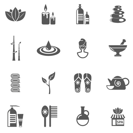 Spa en te ontspannen zwart wit pictogrammen die met massage gezicht en huidverzorging vlakke geïsoleerde vector illustratie
