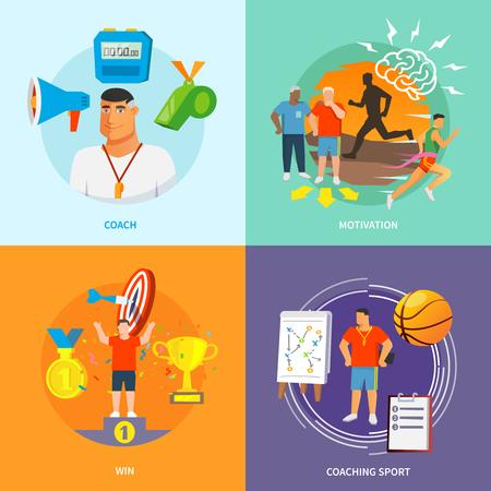 piso: El coaching concepto de diseño de deporte de conjunto con los iconos planos motivación conjunto Ilustración del vector aislado