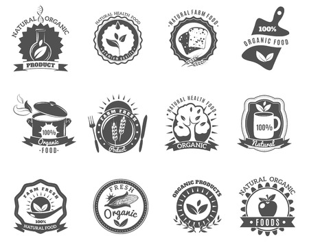 range fruit: Eco organic food brands emblems for best quality products black icons set abstract isolated vector illustration Illustration