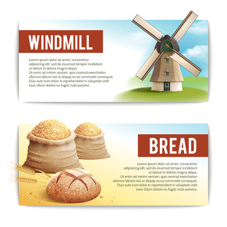 traditional windmill: Bread horizontal banner set with with traditional windmill and wheat sack isolated vector illustration Illustration