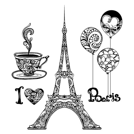 Decorative Eiffel Tower and Paris vacation symbols set hand drawn isolated vector illustration