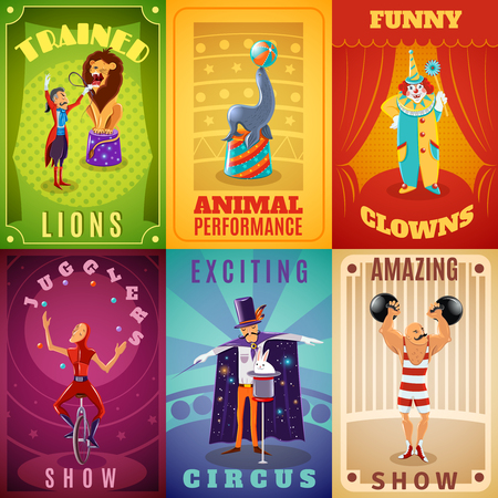 tricks: Travelling circus amazing show announcement 6 flat banners composition with trained animals performance abstract isolated vector illustration