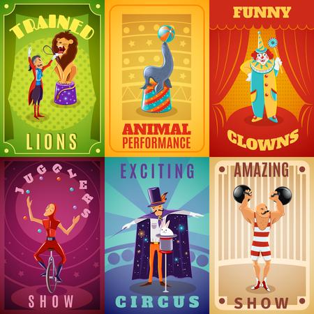 clown cirque: Voyager cirque spectacle �tonnant annonce 6 banni�res plates composition avec des animaux dress�s abstraite de performance isol�e illustration vectorielle