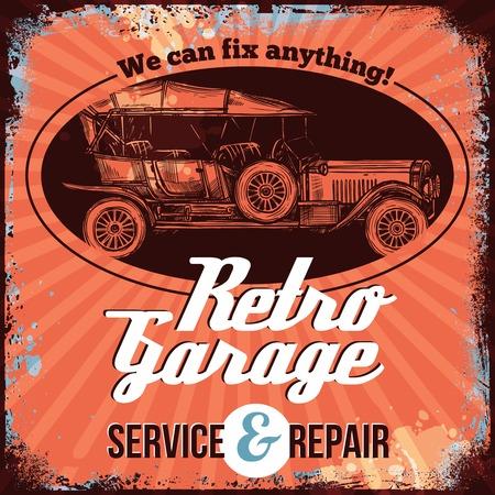 vintage car: Vintage car service emblem design with hand drawn auto vector illustration