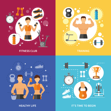 workout gym: Fitness club sports training and time to begin healthy life flat color concept isolated vector illustration
