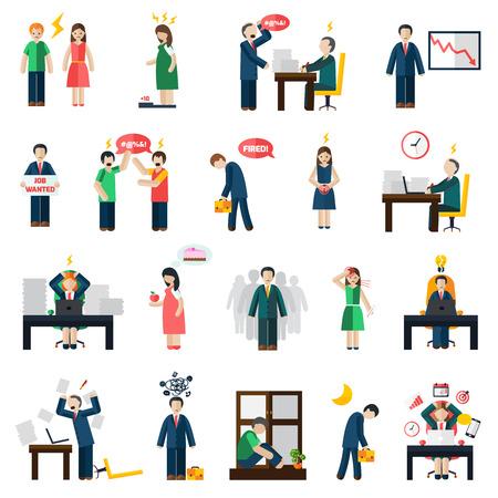 depresi�n: De trabajo y de empleo de p�rdida relacionados con el estr�s y la depresi�n s�ntomas iconos de salud mental conjunto abstracto aislado ilustraci�n vectorial Vectores