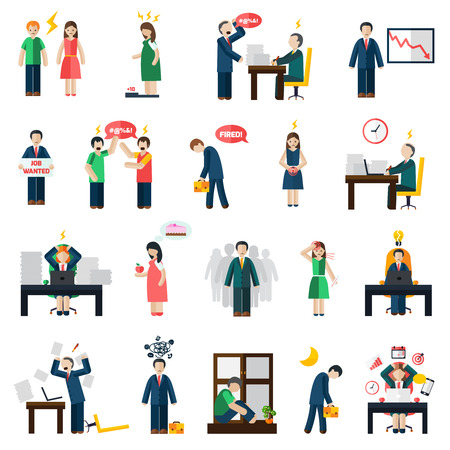 people: Work and job loss related stress and depression symptoms mental health icons set abstract isolated vector illustration