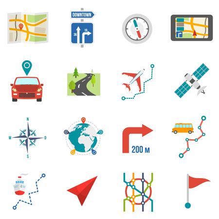 navegacion: Mapa-gps navegación iconos plana conjunto aislado ilustración vectorial Vectores