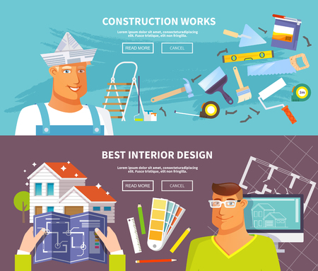 design interior: Renovation horizontal banner set with interior design and construction works elements isolated vector illustration Illustration