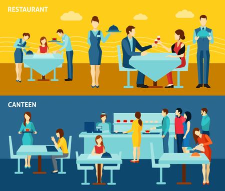 personas comiendo: Restaurante servicio de comedor vacaciones para 2 banderas planas cartel composición pública y personal abstracto aislado ilustración vectorial