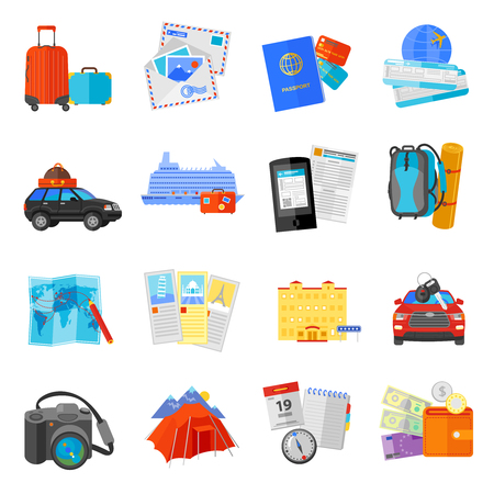 ocean liner: Vacation travel flat icons collection  with ocean liner cruise pictures and flight tickets abstract isolated vector illustration