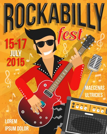 rock singer: Music festival or rockabilly concert promo poster with singer and guitar vector illustration