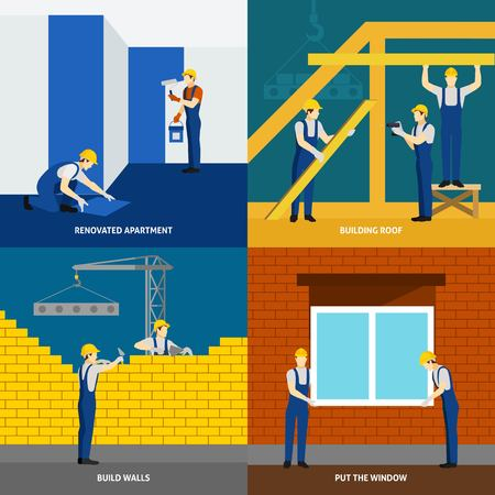 apartment block: Building construction process and apartment block renovation 4 flat icons square composition banner abstract isolated vector illustration Illustration