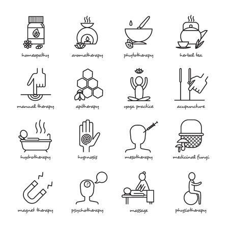 therapy: Alternative medicine black white line icons set with homeopathy yoga and hypnosis symbols flat isolated vector illustration