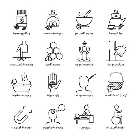 homeopatia: Terapias negro iconos línea blanca establecen con yoga homeopatía y la hipnosis símbolos plana aislado ilustración vectorial