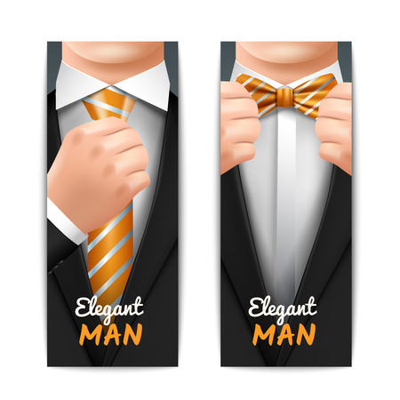 formal shirt: Elegant man vertical banners set with tie and bow-tie realistic isolated vector illustration