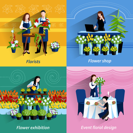 special events: Flowers exhibition and special events floral design arrangements 4 flat icons square composition abstract isolated vector illustration Illustration