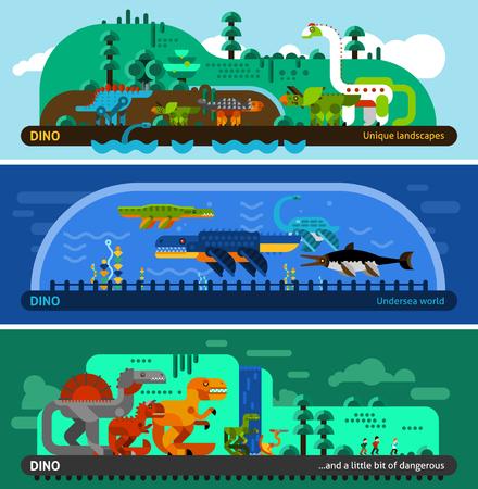 dinosaurio: Dinosaur horizontal banner set with prehistoric predators flat elements isolated vector illustration