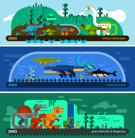 Dinosaur horizontal banner set with prehistoric predators flat elements isolated vector illustration