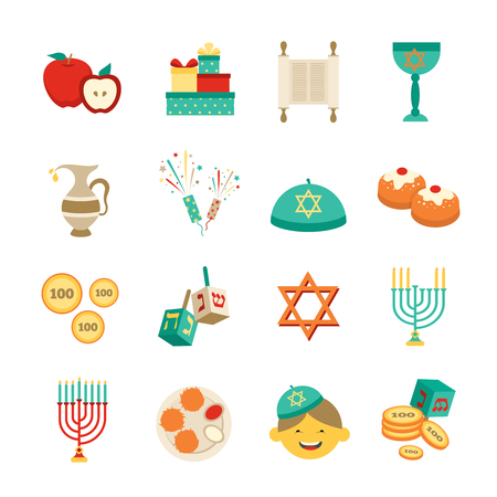 jews: Various symbols and items of hanukkah celebration flat icons set isolated vector illustration