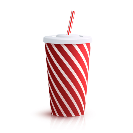 red straw: Red striped red striped paper glass with drinking straw isolated on white background vector illustration