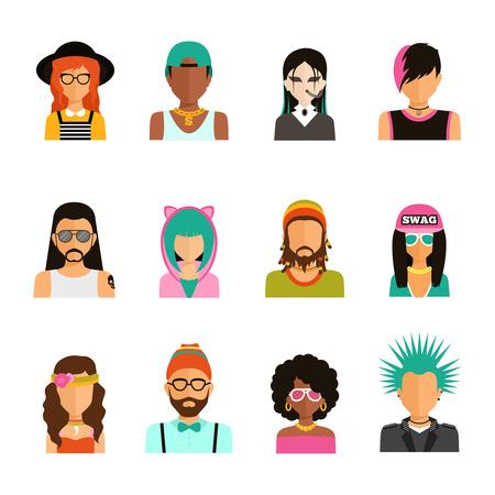 rocker girl: Diferentes subculturas hombre y mujer de color iconos retrato establecidos en la ilustraci�n del vector del estilo plana de moda