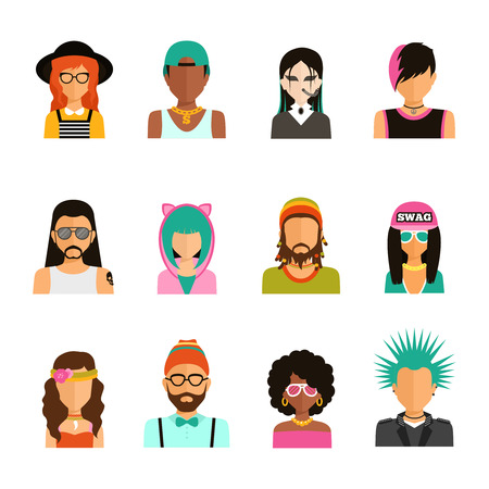 reggae: Différents subcultures homme et couleur femme portrait icons set dans le vecteur isolé style tendance plat illustration Illustration