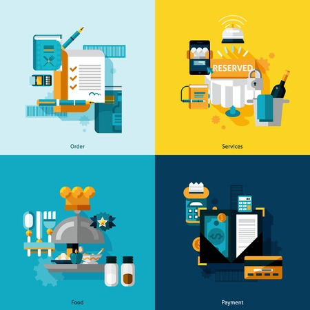 restaurant people: Restaurant services design concept set with food order and payment flat icons isolated vector illustration Illustration