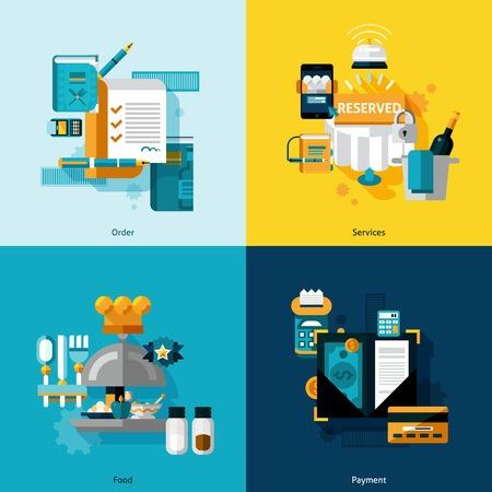 ristorante: Servizi di ristorazione concept design impostato con ordine di cibo e le icone di pagamento piatto isolato illustrazione vettoriale