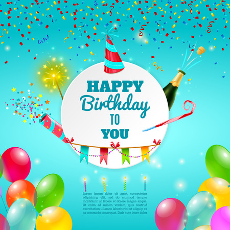 adult birthday party: Happy birthday adult party celebration background template or invitation card with  champagne and decorations abstract vector illustration Illustration