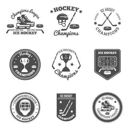 marking: Ice hockey black white labels set with champions league and cup flat isolated vector illustration Illustration