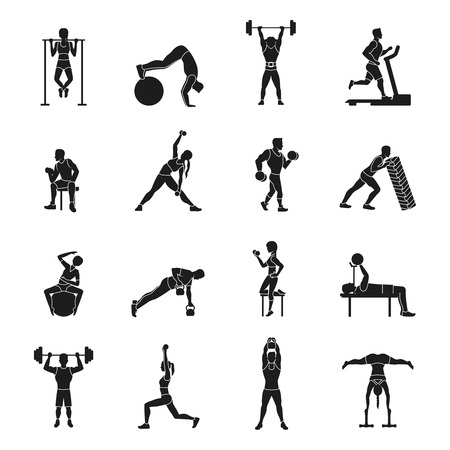 movement: Sport strength workout black and white icons set isolated vector illustration Illustration