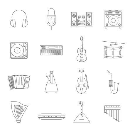 guitar amplifier: Outline style music instruments and accessories icons with piano mic violin drum and others isolated vector illustration