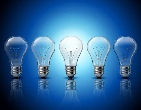 science symbols metaphors: Successful thinking and getting bright ideas metaphorical gradually burning light bulbs row  background banner realistic vector illustration