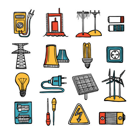power tool: Power energy and electricity devices tools and symbol flat color doodle icon set isolated vector illustration