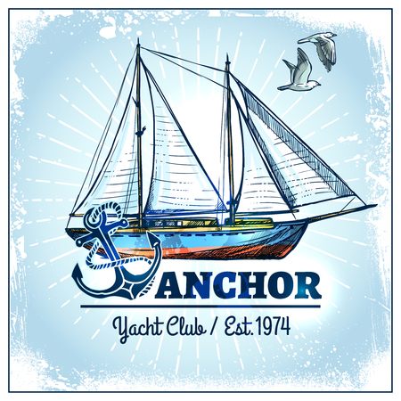 ship anchor: Hand drawn sail ship poster with anchor and seagulls vector illustration